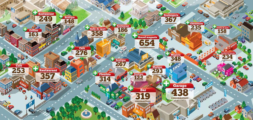 llustration vectorielle d'une petite ville pour une plaquette